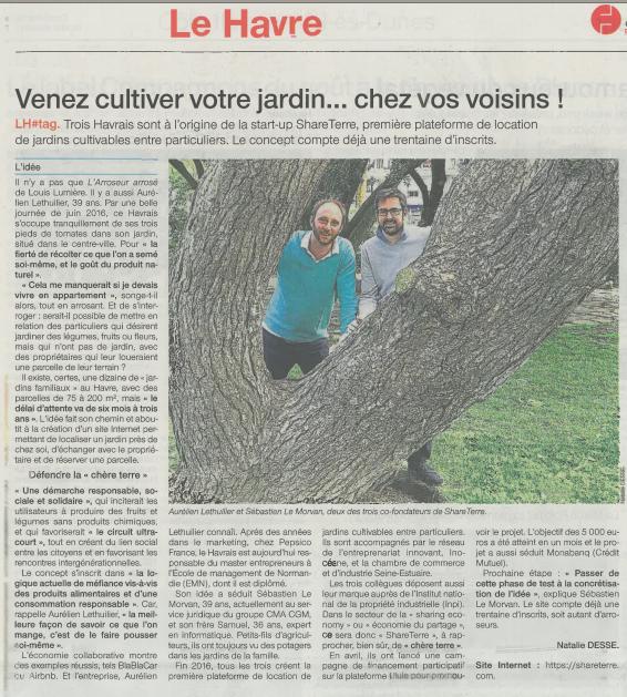 Article ShareTerre sur Ouest France